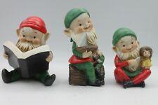 3 Homco Home Interiors Christmas Elves Elf Figurines Santas Helpers Xmas 2005
