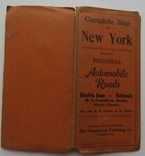 Complete Map Of New York Principal Automobile Roads, Electric Lines, R.Rs 1918