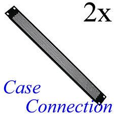 """2x 1HE Rackblende - Lüftungslöcher - gekantet - Stahl 19"""" Frontplatte 19 Zoll"""