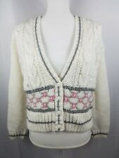 Jamie Scott Hand Knitted Sweater Size Large White With Pastel Pattern On Front