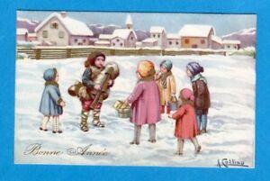 BUON NATALE ZAMPOGNARO WEIHNACHTEN CHRISTMAS CHILDREN sign.COLLINO