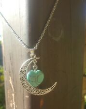 Women Vintage Silver Moon Pendant Natural Turquoise Heart Stone Necklace