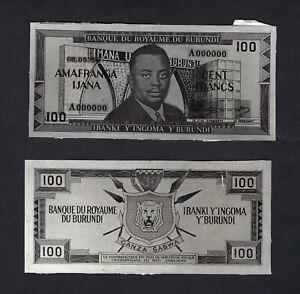 Burundi Face & Back 100 Francs 19-06-1964 Unissued Design Photograph Proof