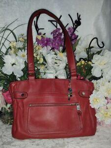 EUC Gorgeous TIGNANELLO Red Leather Shoulder Handbag Satchel Purse Pockets