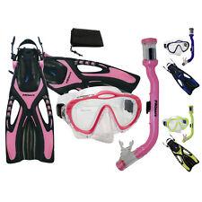 Promate Junior Snorkeling Scuba Diving Purge Mask Snorkel Fins Mesh Bag Gear Set