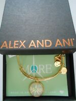 Alex and Ani Words are Powerful MORE PEACE Bangle Bracelet Shiny Gold NWTBC 2017