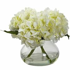 Nearly Natural 1356-CR Blooming Hydrangea with Vase- Cream