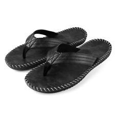 Black Anti-slip Leather Men's Thong Flip Flops Summer Groove Sandals Size 9-10