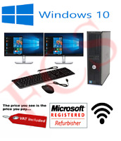 DELL DUAL SCREEN DESKTOP TOWER PC & TFT COMPUTER WITH WINDOWS 10 & WIFI & 8GB