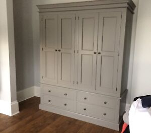 Painted 4 Door Wardrobe over 4 drawers, Edwardian style