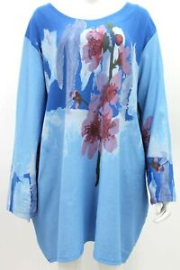 NEW WINTER Abstract Floral Tunic ITALIAN LAGENLOOK Blue - Size 18 20 22