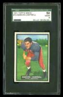 Rare 1951 Topps Magic #19 Marion Campbell Football Rookie RC Card SGC 50/4 VG-EX