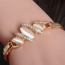New 18k Gold plated Clear Austrian Crystal gorgeous oval  beige opal Bracelet