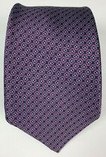 Oxxford Clothes Satin Silk Repeating Pattern Made in USA Tie Purple Blue
