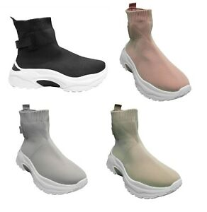 WOMENS LADIES FASHION CASUAL SPORT GYM SLIP ON CHUNKY SOLE TRAINERS SNEAKERS UK