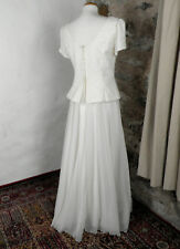 Vintage Floaty Embroidered Cream Wedding Dress by House of Nicholas UK 12 / 14
