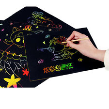10 Sheets Magic Scratch Art Painting Paper With Drawing Stick Kids Toy 16K