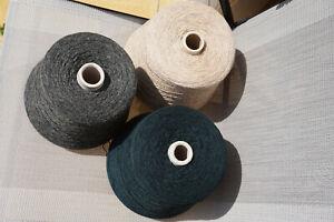 100% Shetland Wool Yarn Cones 3050g Green Grey Ecru Machine Knitting Joblot Bulk