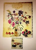 "Floral-Art-Prints-Bracha Guy-""Etching With Remarque / One of One-Hand Colored"