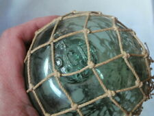 ANTIQUE -  teal green Fishing float / Buoy with SEAL .