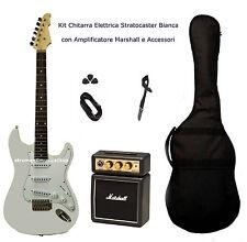 Kit Chitarra Elettrica Stratocaster Bianca Amplificatore Marshall Set Accessori