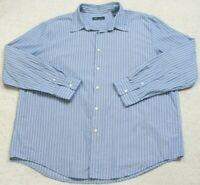 John Ashford Dress Shirt XXL Blue & White Button Front Long Sleeve Mans 2XL Top
