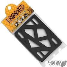 """KROOKED Skateboard Riser Pads Risers 1/4"""" BLACK Pair Longboard Old Skool Cruise"""