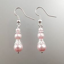 Plated French Hooks - Free Shipping Dangle Earrings -Pretty Pink Beads & Silver