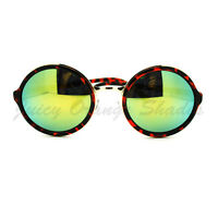 Multicolor Reflective Lens Sunglasses Vintage Round Circle Frame