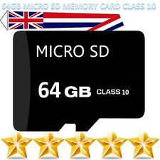 64GB Class 10 Micro SD SDHC Memory Card TF Flash With Free Adapter - UK Seller