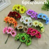 6X Artificial Silk Gerbera Daisy Flower Fake Bouquet Wedding Home Decors Fashion