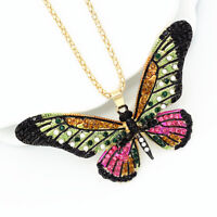 Betsey Johnson Enamel Crystal Cute Butterfly Pendant Chain Women's Necklace Gift