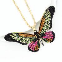 Betsey Johnson Enamel Crystal Cute Butterfly Pendant Chain Women's Necklace Gift