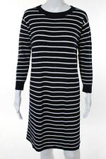 J Crew Blue White Wool Striped Pull Over Scoop Neck Sweater Dress Size Small