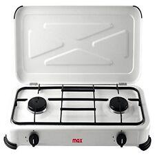 Cucina 2 Fuochi a Gas Fornello Campeggio Con Coperchio Interno ed Esterno Max