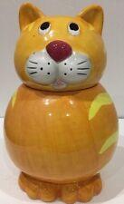 Alco Industries Cranbury NJ Yellow Cat Ceramic Cookie Candy Jar w/ Lid China