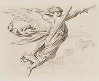 Erzengel Michael mit ausgebreiteten Flügeln und Schwert, 1921, Radierung