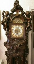 More details for magnificent highly carved mahogany musical loncase / grandfather clock pwo & vgc