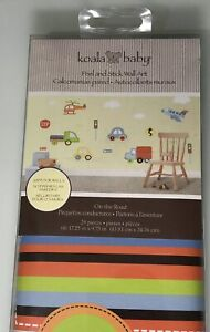 """Koala Baby 17x10"""" On the Road cars trucks wall decals boys room decor new in pkg"""