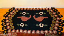 """PRIMITIVE PENNY RUG RUNNER. """"LOVE BIRDS"""".   17"""" by 35"""".   JUST BEAUTIFUL!"""