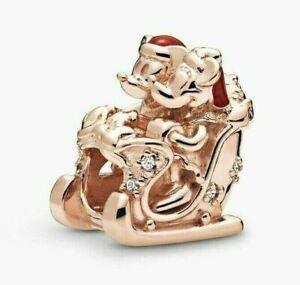 Genuine Pandora ALE R Disney Minnie Mickey Christmas Sleigh Charm 788450C01