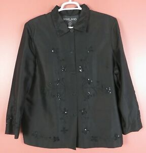 CJ0849- SILKLAND Women's 100% Silk Jacket Embroidered Beaded Sequined Black 2X