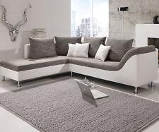Ecksofa Philip Wohnlandschaft Couch Sofa mit Ottomane links weiß Stoff grau