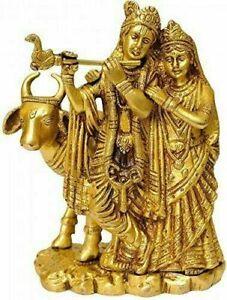 Brass Gopala Krishna With Radha Statue Idol Figurine Showpiece
