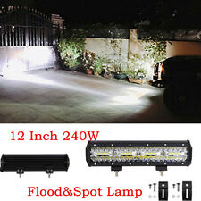 12 Inch 240W 6000K LED Light Bar Super Bright Spot & Flood Combo Driving Lamp