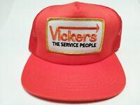 VTG-1980s Vickers Concrete Sawing mesh big patch trucker snapback hat cap orange