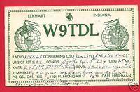 ELKHART IND HIBSHMAN W9TDL 1935 AMATEUR RADIO QSL ROLLER TOLEDO OH  POSTCARD