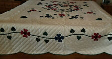 NEW HOMEMADE  AMISH QUILT-DOGWOOD GARDENS-WITH HEART & FLOWERS-MULTI COLOR