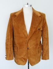 Vtg 70s SUPERFLY Golden Brown Corduroy Velour Disco Pimp Blazer Vegas Jacket 42