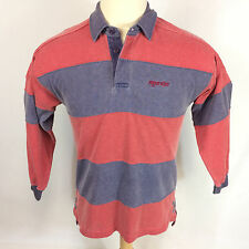 Vintage 80s 90s Grunge New Wave Bold Surf Stripe Padded Rugby Polo Shirt M